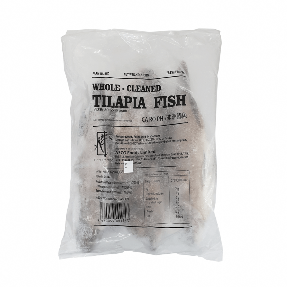 Asean Seas Whole Cleaned Tilapia Fish 300-500g
